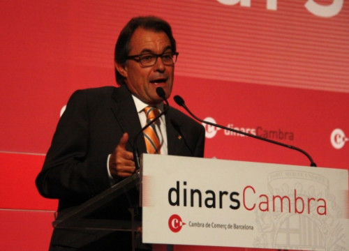 The Catalan President, Artur Mas, talking at the Barcelona Chamber of Commerce's lunch event (by P. Mateos)