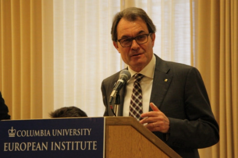 The President of the Catalan Government, Artur Mas, holding his conference at Columbia University in New York (by M. Belmez)