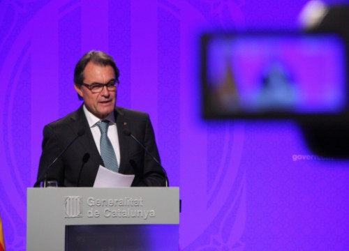 The Catalan President, Artur Mas, addressing the press on Tuesday (by R. Garrido)