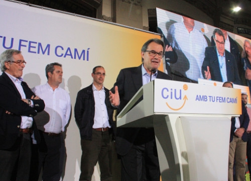 The Catalan President and CiU's leader, Artur Mas, in his first speech after the results of the municipal elections (by ACN)