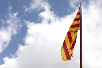 The Catalan flag in today's official ceremony in Ciutadella's Park