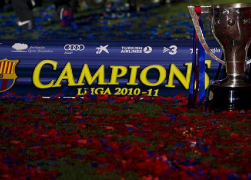 A moment of the celebration of the 2010-2011 League title (by FC Barcelona)