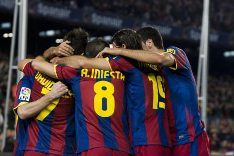 FC Barcelona players celebrate a goal during the last Spanish League game against Villareal (by FC Barcelona)