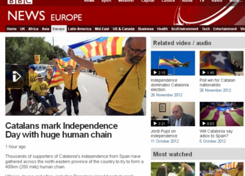 The BBC website informing about the 'Catalan Way' (by BBC / ACN)