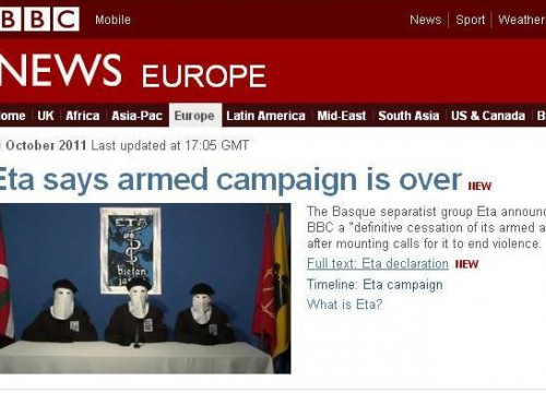 A caption from the BBC News website with ETA's announcement (by ACN / BBC)