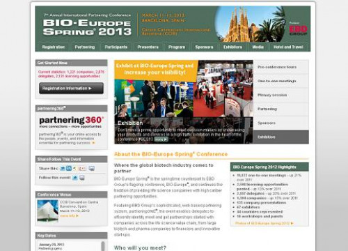The website of Bio-Europe Spring 2013, which will be held in Barcelona (by EBD Group / Bio-Europe / ACN)