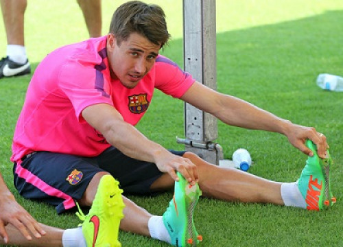 Bojan training this summer with Barça's first team (by FC Barcelona)