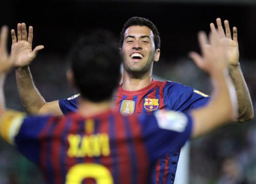 Sergio Busquets scored Barça's first goal against Real Betis (by FC Barcelona)