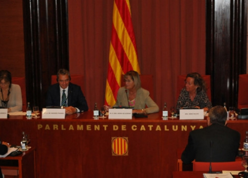 The workshop took place at the Catalan Parliament's palace. From left to right, Colangelo, Pagano, De Gispert, and Folchi (ACN)
