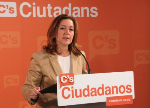 Carina Mejías, the Ciudadanos' candidate for Barcelona Mayor, on Monday(byR. Garrido)