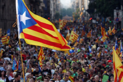 A Catalan independence flag in last year's 1.5 million strong demonstration supporting Catalonia's independence from Spain (by ACN)