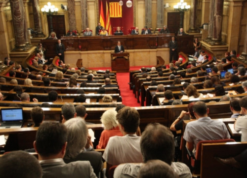 The President of the Catalan Government, Artur Mas, addressing the Parliament of Catalonia (by R. Garrido)