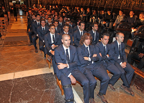 Barça players at Tito Vilanova's memorial service at the Cathedral of Barcelona (by FC Barcelona)
