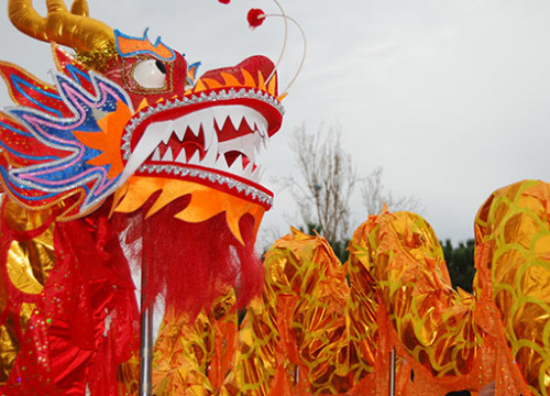 Dancing dragon waiting for the parade to start (by Marina Force Castells)