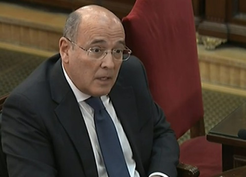 The top official of Spain's Guardia Civil police during the referendum, Diego Pérez de los Cobos, testifying in the Catalan trial