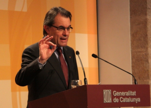 The President of the Catalan Government, Artur Mas, on Friday, announcing the summit on measures against corruption (P. Mateos)
