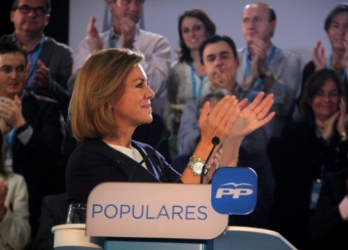 The PP's 'number 2', María Dolores de Cospedal, in Barcelona on Friday (by R. Garrido)