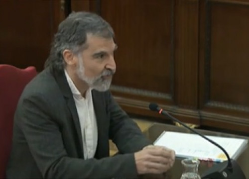 Activist Jordi Cuixart testifying in the independence trial on February 26, 2019