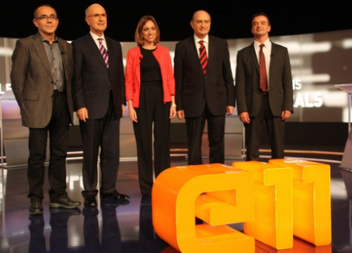 The candidates topping the main party lists in Catalonia before the debate organised by the Catalan public TV (by R. Garrido)