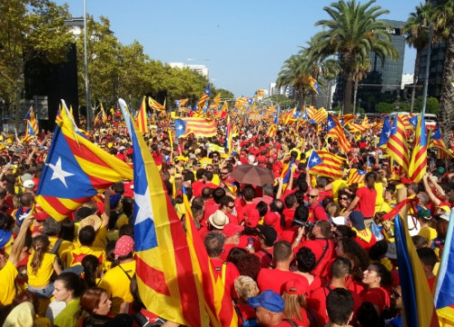 Protesters forming the yellow and red stripes of the Catalan flag at the beginning of the Diagonal Avenue in the September 11, 2014 independence demonstration (by M. Fernández Noguera)