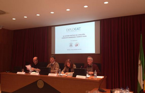 The round table about Catalonia's self-determination in Seville's University (by Diplocat / ACN)