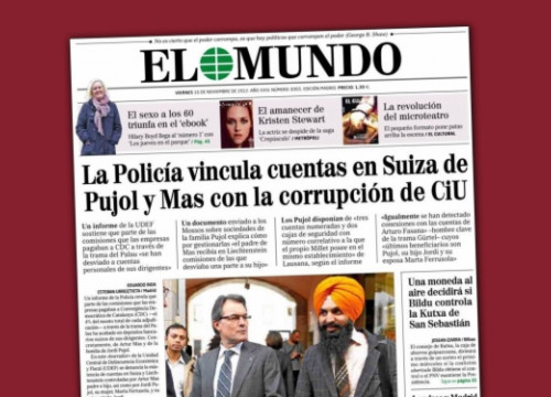 'El Mundo' accusing Mas and Pujol of having secret accounts in Switzerland 9 days before the Catalan elections (by ACN)