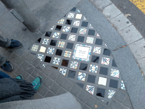 The tiles replaced damage from the street riots (by Cillian Shields)