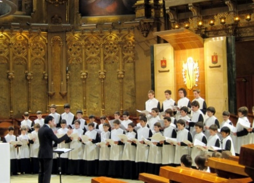 The Escolania de Montserrat Choir, singing in the Abbey's Basilica (by Abadia de Montserrat / ACN)