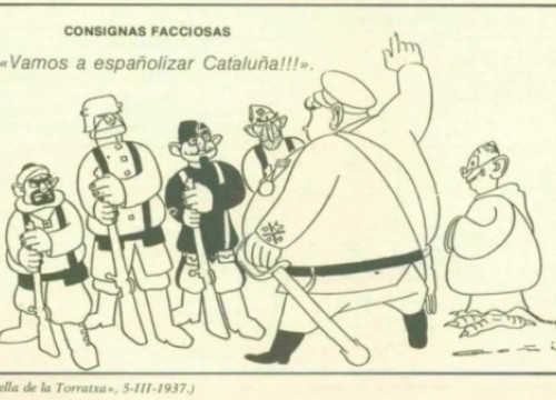 A political cartoon published in Catalonia in 1937 during the Civil War (by Twitter @janquim)