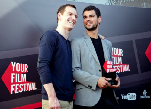 Michael Fassbender and David Victori in Venice with 'Your Film Festival' Award (by Youtube / ACN)