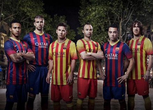 From left to right: Thiago, Piqué, Messi, Iniesta, Xavi and Puyol wearing the new kits for next season (by FC Barcelona)