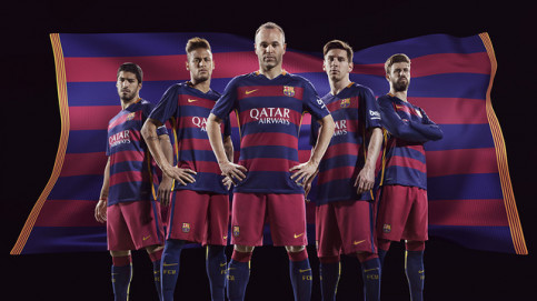 Barça's first kit for the 2015/2016 season, with horizontal stripes for the first time (by FC Barcelona)