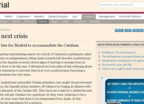 A caption from the FT's editorial on Catalonia's self-determination vote and Spain's need to negotiate (by Financial Times)