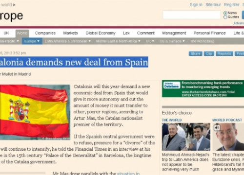 A caption of the Financial Times' website with Artur Mas' interview made by Victor Mallet (by Financial Times / ACN)
