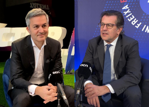 Image of two FC Barcelona presidential candidates Víctor Font and Toni Freixa, interviewed by Catalan News (by Cillian Shields/Cristina Tomàs White)