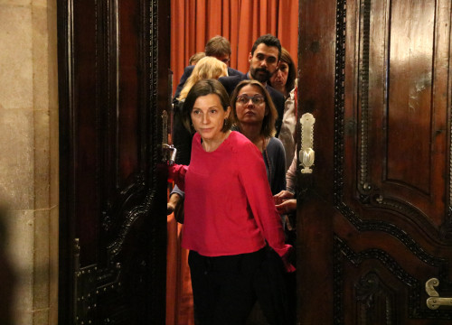 President of Parliament Carme Forcadell leaving meeting with Together for Yes on Oct 30 (by ACN)