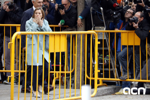 The Catalan parliament president, Carme Forcadell, after leaving the Spanish Supreme Court