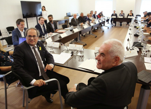 The Catalan president, Quim Torra, and the Foreign Affairs minister, Ernest Maragall, in the meeting to reopen the Diplocat (by Jordi Bedmar)