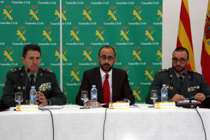 Three Guardia Civil police high-ranking officials, including the head of judicial police in Catalonia, Daniel Baena (right), in 2016 (by Pol Solà)