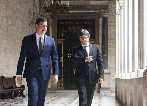 Carles Puigdemont and Pedro Sánchez in Barcelona (by ACN)