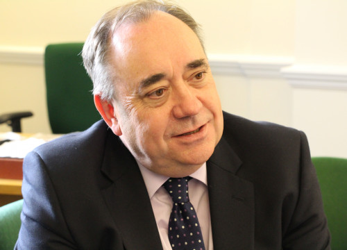 Former Scottish Prime Minister, Alex Salmond, during an interview with CNA