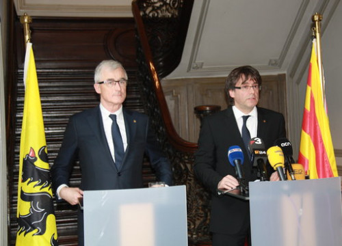 Catalan President, Carles Puigdemont, and Flemish Minister-President, Geert Bourgeois (by Laura Pous)