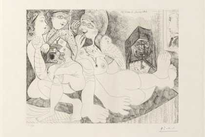 One of the Picasso engravings, dedicated to Degas (by Picasso Museum)