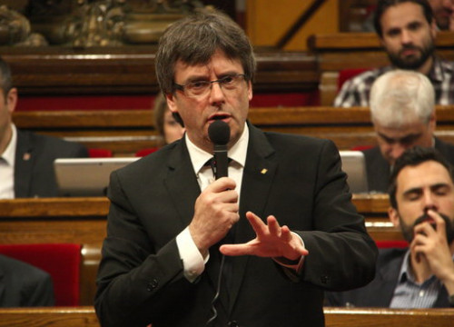 The Catalan President, Carles Puigdemont, during the plenary session (by ACN)