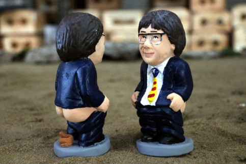 A caganer figurine of former Catalan president Carles Puigdemont (by Xavier Pi)