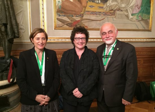 The former Catalan parliament president, Carme Forcadell (left), with the Welsh assembly president, Elin Jones, and her Flemish counterpart, Jan Peumans, in 2016 (by Joan Serra)