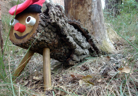 A Tió de Nadal, looking forward to be beaten to defecate presents
