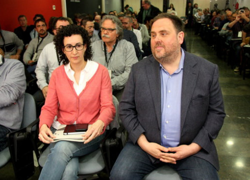 ERC leaders Marta Rovira and Oriol Junqueras, photographed at the party's National Council in 2017 (by Norma Vidal)