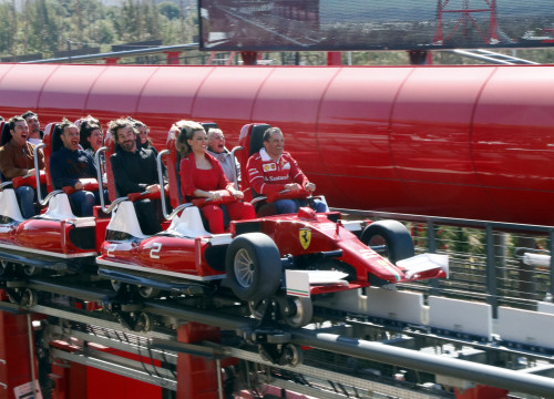 Passengers enjoying's first ride of the 'Red Force', at Ferrari Land (by ACN)