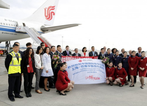 The first plane connecting Shanghai and Barcelona landed at El Prat airport on Friday at 08:05 am (by Josep Maria Torné)